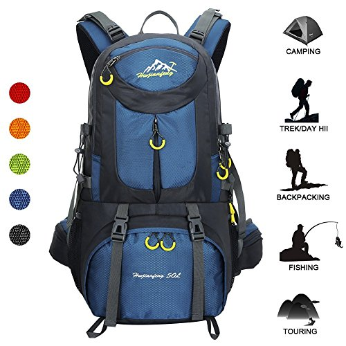 f9ed4d2c2329 Huwaijianfeng Hiking Backpack 50L Waterproof Backpack Outdoor Sport Daypack  ...